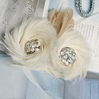 Bridal Fascinator, Ivory Wedding Fascinator, Feather Fascinator, Wedding Head Piece, Bridal Hair Accessories