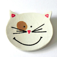 White Friendly Cat Dish Smiley Face Ceramic Plate, Spoon Rest, Kitchen Decoration