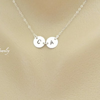 Two Silver Initial Charm Necklace, Mother Daughter Necklace, Couple Jewelry, Personalized Monogram, Sister Necklace, Friendship,