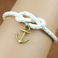Anchor bracelet, leather bracelet, fabulous navy bracelet, infinity knot, god's gift, antique copper ,christmas gift
