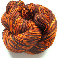 Hand Dyed Sock Yarn, Superwash & Nylon, Orange and Brown