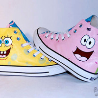Hand Painted Spongebob &amp; Patrick Converse Shoes