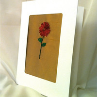 Hand Embroidered Silk Ribbon Flower Card  by BeanTownEmbroidery