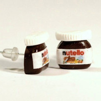 Nutella earrings Polymer Clay minature chocolate-stud earrings - post earring