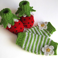 Baby set Ladybugs - booties and leg warmers/3-6M