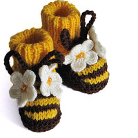 Baby booties Funny Bees / size for 0-3M