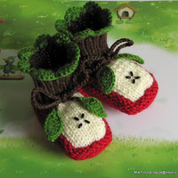 "Baby booties ""Two Apple halves""/ size 4-6M"