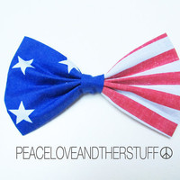 Handmade American Flag Hair Bow