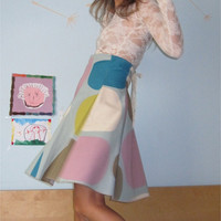 Pastels - High waisted Skirt with Vintage Lace
