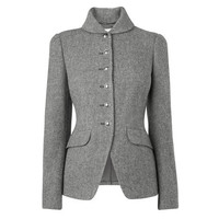 Freida Wool Twill Riding Jacket Pewter L.K.Bennett