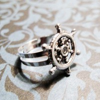 Ship Wheel Charm Ring, Nautical Boat Summer Ship Sailor