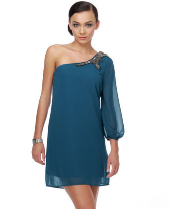 Bead It, Kid One Shoulder Blue Dress