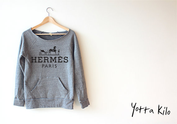 Women Crop Sweatshirt - Hermes Logo