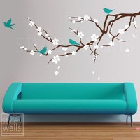 Blossoming Almond Branch GIFT BIRDS Vinyl Wall by styleywalls