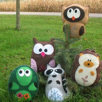 Woodland Forest Animals Owls Turtle Hedgehog by LittleHibouShoppe