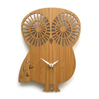 Modern Owl Wall Clock Bamboo by decoylab on Etsy