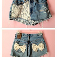 Lace High Waisted Shorts w/ bows &lt;3  by PrincessPicks
