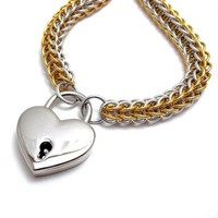 Chainmail Collar with Heart Shaped Padlock Silver and Gold Choker