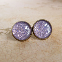 Purple Stud Earrings, Lavender Studs, Resin Jewelry, Lilac Glitter Earrings, Sparkle Earrings, Faux Plugs - LAVENDER