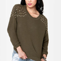Stud Ahead Olive Green Studded Sweater