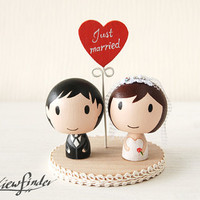Customise Wedding Cake Topper with Heart Message by Oneviewfinder