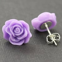 Flower Earrings : Purple Flower Stud Earrings, Sterling Silver Plated Earring Posts, Neon, Simple, Fun