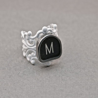 RING TYPEWRITER White Key VINTAGE Custom Letter Initials Retro Fun Upcycled