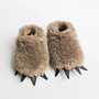 Baby Bear Slippers  - Fuzzy Mocha with Dark Claws