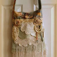 Gypsy Bag, large Shabby Chic bag, soft thick green floral, cream and green ruffled lace, doily