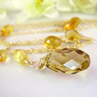 Citrine Drop Swarovski golden shadow crystal necklace