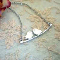 Silver Lovebirds Pendant Necklace by shopmirrormirror on Etsy