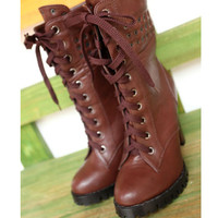 Brown Leatherette Chunky Heel Ankle Boots Shoes$50.00