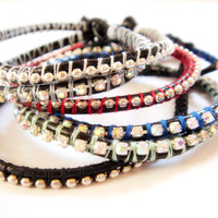 Rhinestone or Ball Chain Leather Wrap Bracelet All Proceeds Go To Women Aware, Inc. Not Eligible for Sale, Coupon Code, Discount