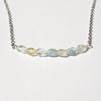 Aquamarine Necklace Minimalist Gemstone Necklace
