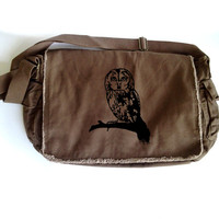 OWL Messenger Cute Owl on Brown Canvas Messenger Bag with Animal Print