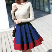 women/woman  Red Woolen cloth Wool woolen cloth winter waist skirt  leather skirt / fold short skirt/half skirt /Backing skirt/Dress