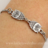 Owls bracelet, antique silver owls bracelet, chain bracelet, special gift for someone you love