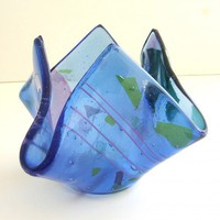 Sky Blue Spring Art Glass Vase by Uneek Glass Fusions