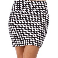 Black/White Houndstooth Skirt