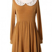 Lace Collar Tan Dress - New Arrivals - Retro, Indie and Unique Fashion