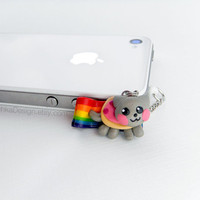 Nyan Cat Charm iPhone Earphone Plug, Dust Plug, Cellphone Accessories, 3.5mm, Geek, Meme