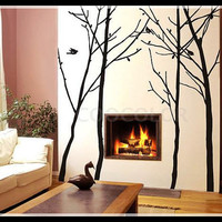 Unique Winter tree and  free bird 4 trees in one set Wall Decal Wall Sticker Home Decal Home Sticker Tell me colors you like when you buy.