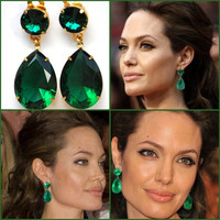 Angelina Jolie's Inspired Gorgeous Emerald  Earrings in  Crystal Emerald SWAROVSKI the Clip-On Version