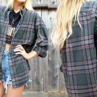 vtg 90s Grunge Green and Brown Plaid Tartan Shirt/ Blouse One Size