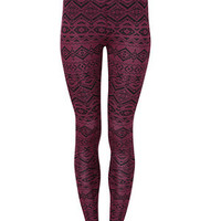 Dark Red Aztec Print Leggings