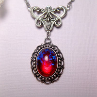 Dragon's Breath Fire Opal Art Nouveau Pendant Necklace
