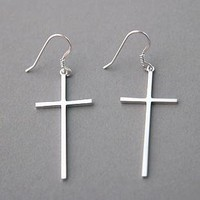 STERLING SILVER CROSS EARRINGS DANGLE WHITE GOLD LARGE CROSS EARRINGS by Kellinsilver.com - Sterling Silver Handmade Jewelry Online as ETSY