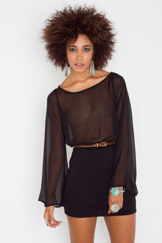 Strapped Chiffon Dress - Black - NASTY GAL