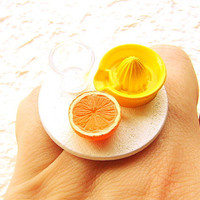 Juice Ring Kawaii Making Orange Juice by SouZouCreations on Etsy
