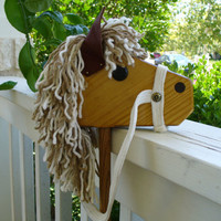 Light Brown Mane White Reigns Wooden Stick Horse by hcwoodcraft